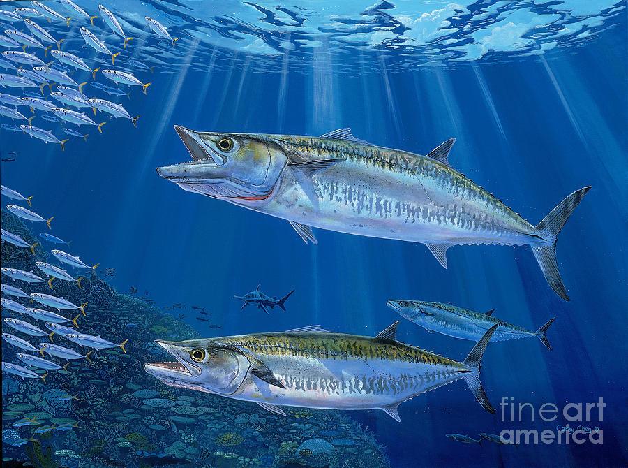 Kingfish Painting - Kingfish Reef by Carey Chen
