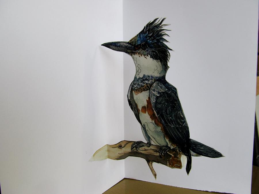 Card Sculpture - Kingfisher Pop Up Card by Alfred Ng