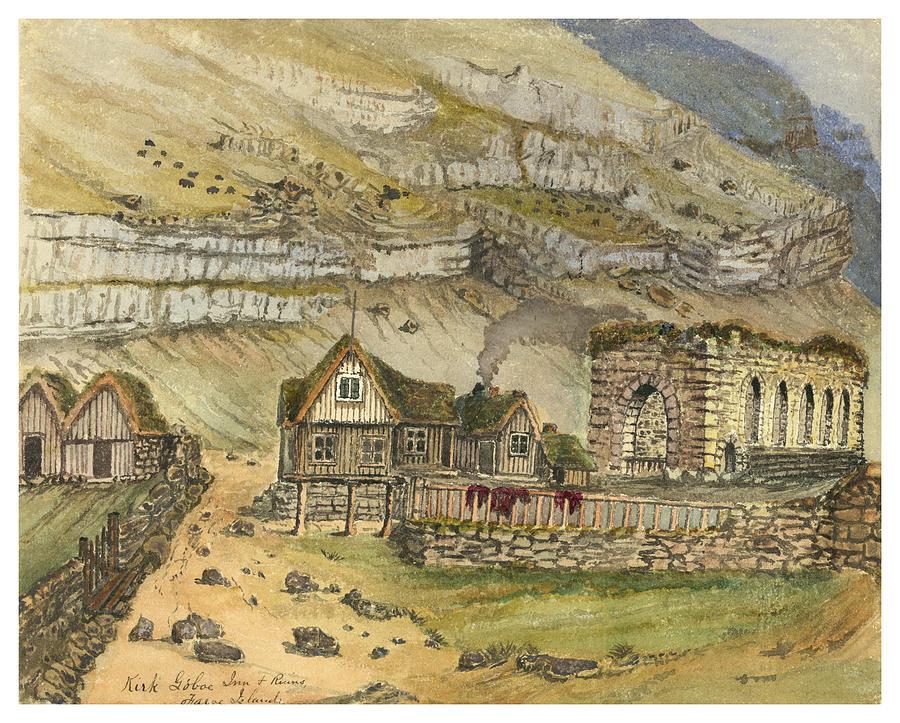 Faroese Painting - Kirk G Boe Inn And Ruins Faroe Island Circa 1862 by Aged Pixel