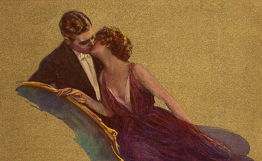 Kissing On The Chaise-longue Valentine Digital Art