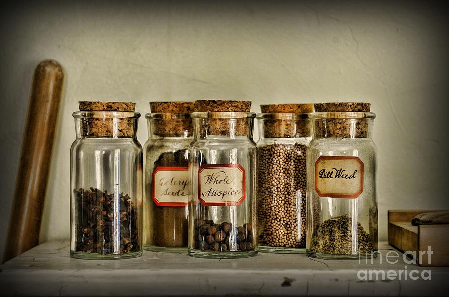 Kitchen Spices Colonial Era Photograph  - Kitchen Spices Colonial Era Fine Art Print