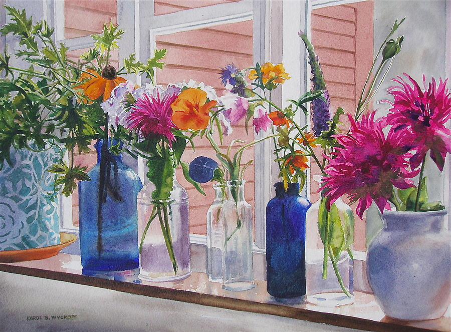 Geraniums Painting - Kitchen Window Sill by Karol Wyckoff