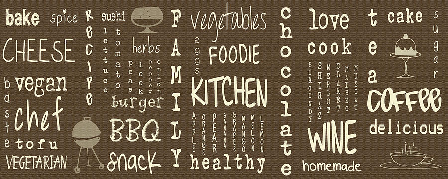 Kitchen Words Digital Art by Nomad Art And Design - Kitchen Words
