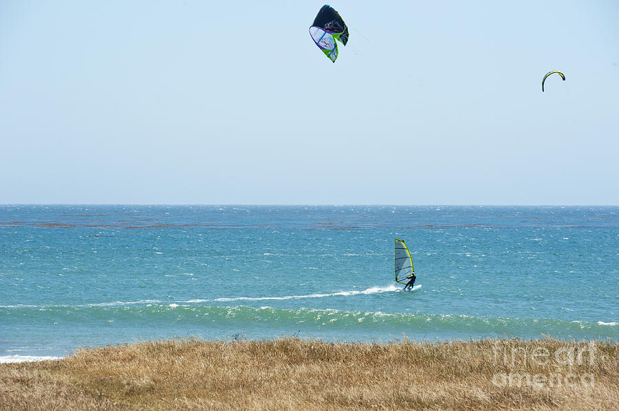 Kite Surfing And Wind Surfing Central Coast San Simeon California Photograph