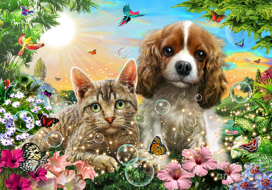 Kitten And Puppy Digital Art
