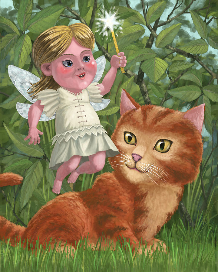 Kitten With Girl Fairy In Garden Painting