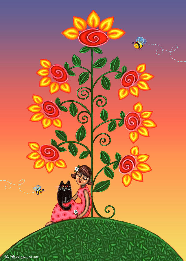 Folk Art Painting - Kitty And Bumblebees by Victoria De Almeida