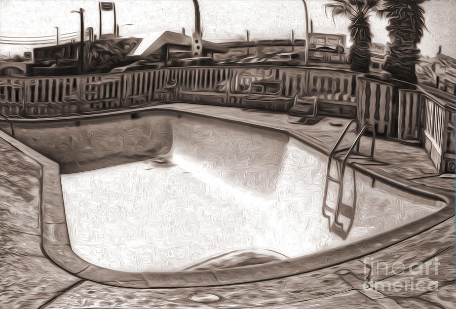 Kiva Motel -  Empty Pool Painting  - Kiva Motel -  Empty Pool Fine Art Print