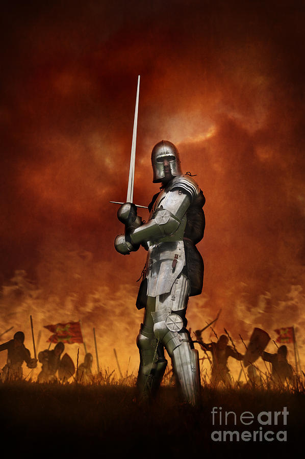 Knight Photograph - Knight In Shining Armour On A Medieval Battlefield ...