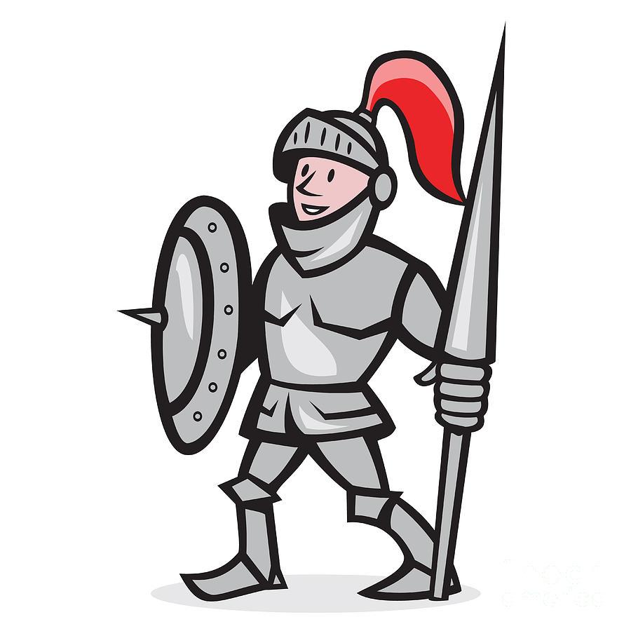 Knight Shield Holding Lance Cartoon Digital Art by Aloysius Patrimonio