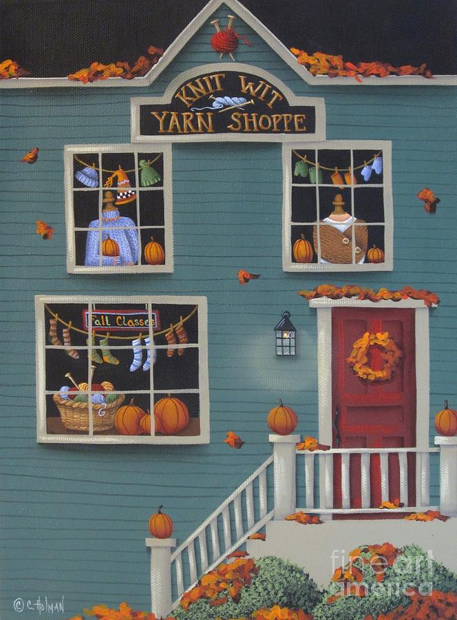 Knit Wit Yarn Shoppe Painting  - Knit Wit Yarn Shoppe Fine Art Print