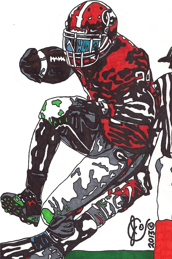 Knowshon Moreno Drawing  - Knowshon Moreno Fine Art Print