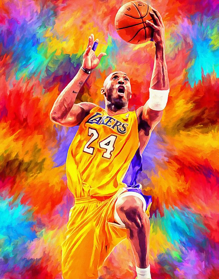 Kobe Bryant Basketball Art Portrait Painting Painting