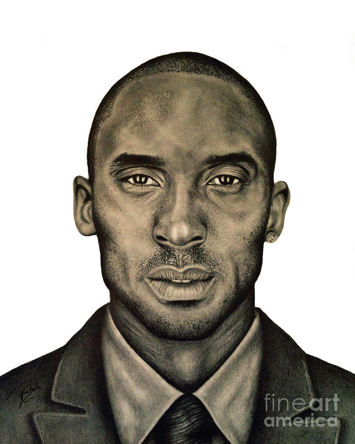 Kobe Bryant Black And White Print Drawing