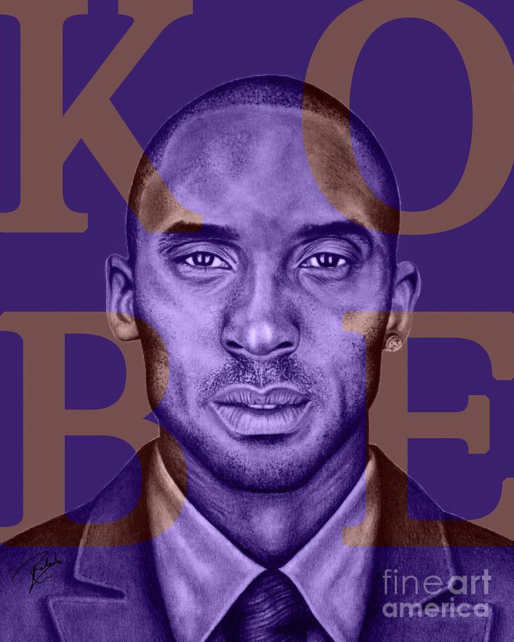 Kobe Drawing - Kobe Bryant Lakers Purple by Rabab Ali
