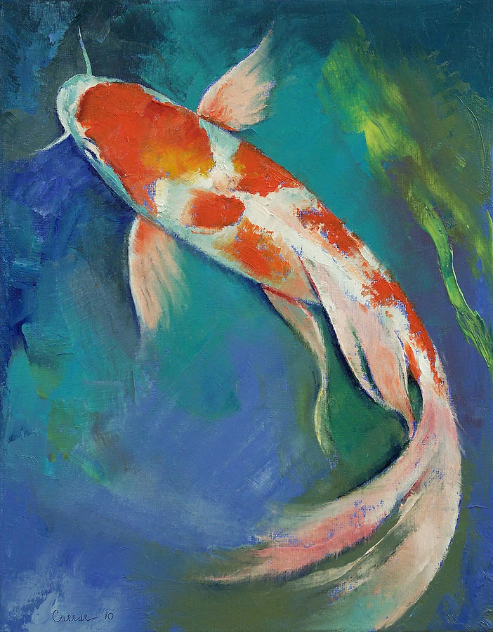 Kohaku butterfly koi painting by michael creese for Coy fish painting