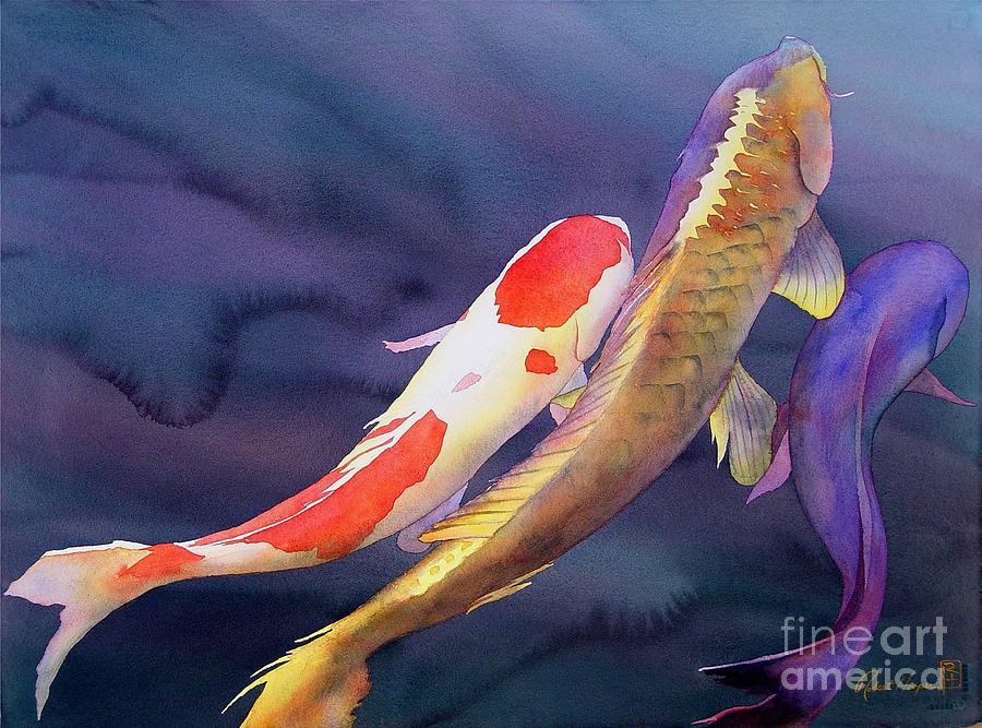 Watercolor Painting - Koi Dance by Robert Hooper
