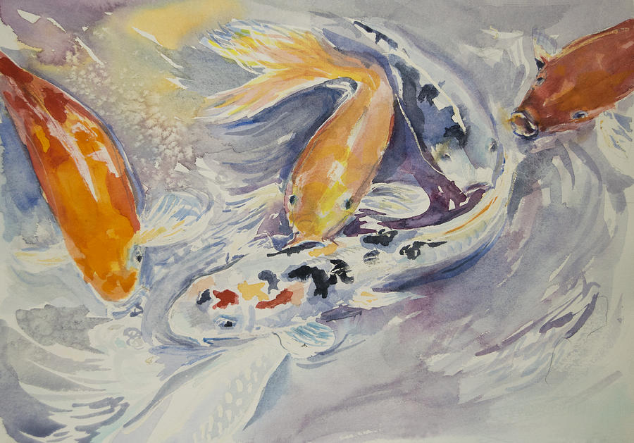 Koi feeding painting by claire hartfield for Koi feeding