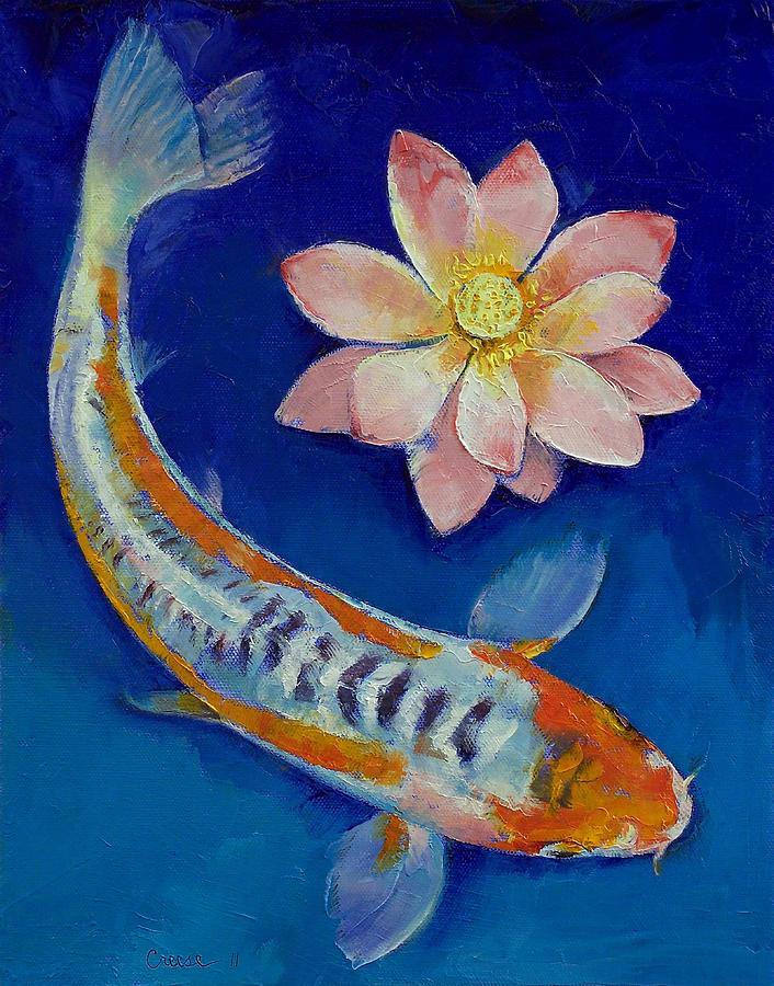 Koi fish and lotus painting by michael creese for Koi fish pond lotus