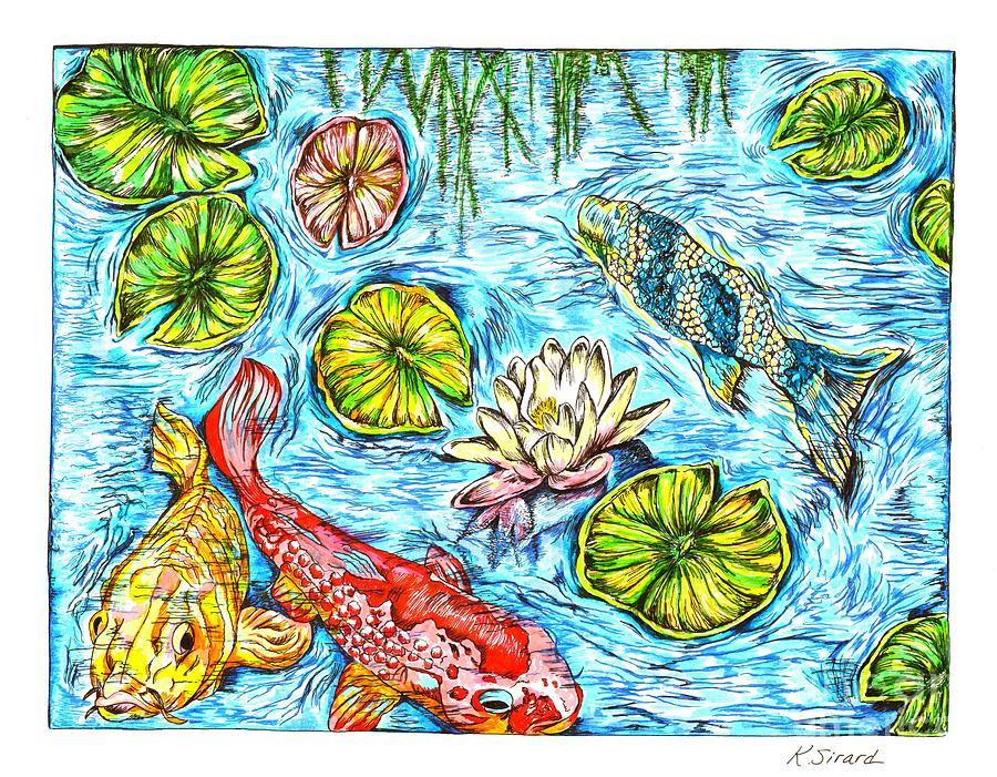 Koi Fish In A Pond Drawing by Karen Sirard