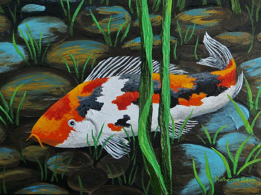 The gallery for japanese koi pond painting for Koi fish pond drawing