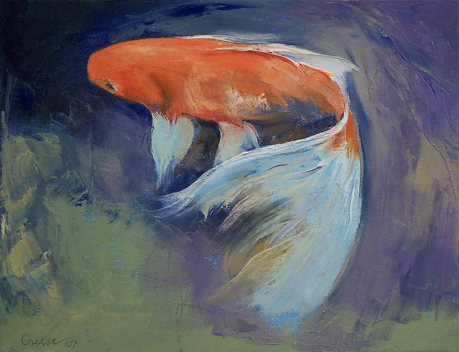 Koi fish painting painting by michael creese for Koi artwork on canvas