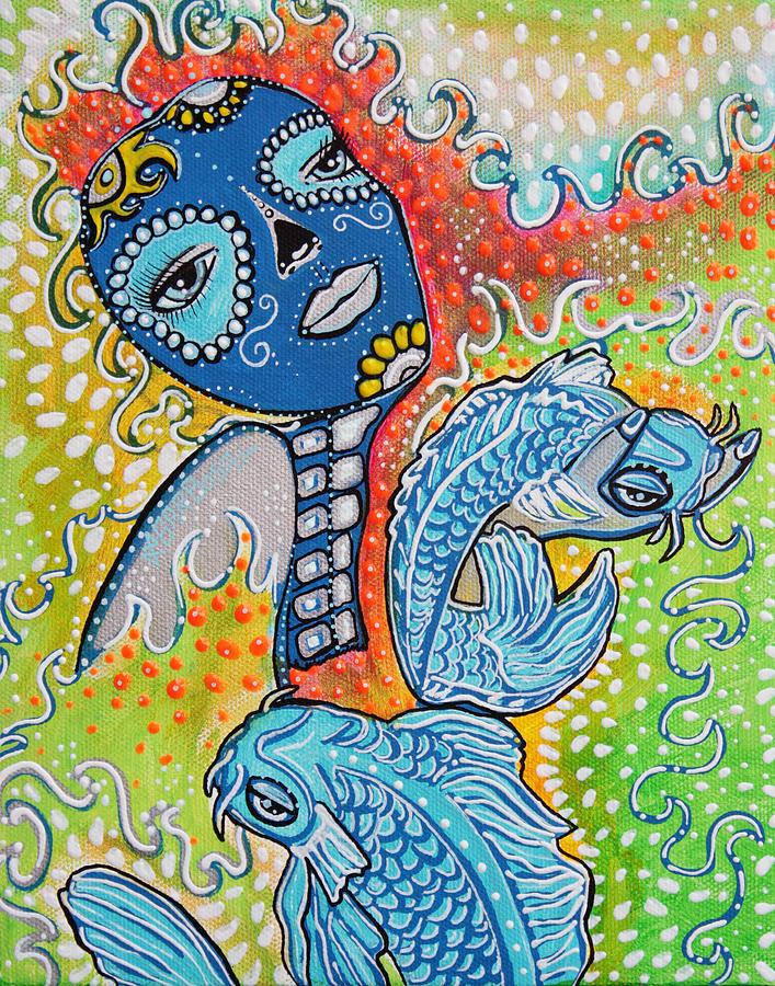 Koi Fish Sugar Skull Painting