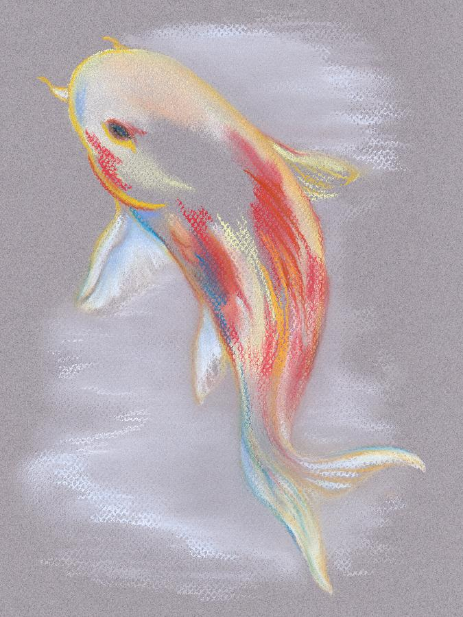 Koi Fish Swimming Pastel  - Koi Fish Swimming Fine Art Print