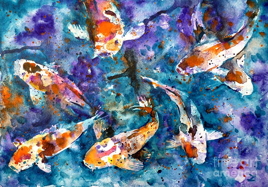 Koi Impression Painting  - Koi Impression Fine Art Print