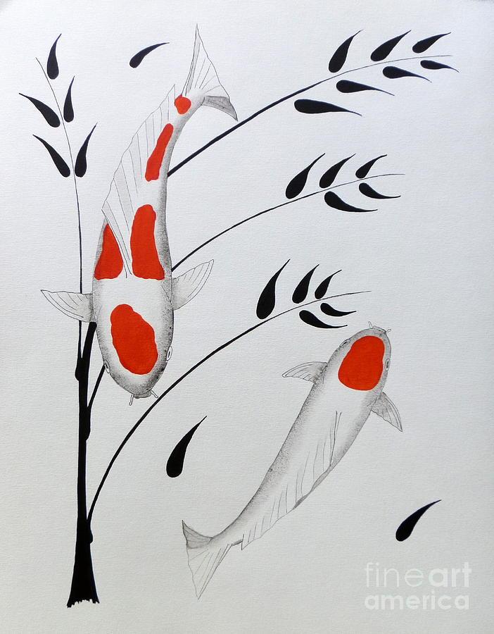 Koi Kohaku And Tancho With Bamboo Painting
