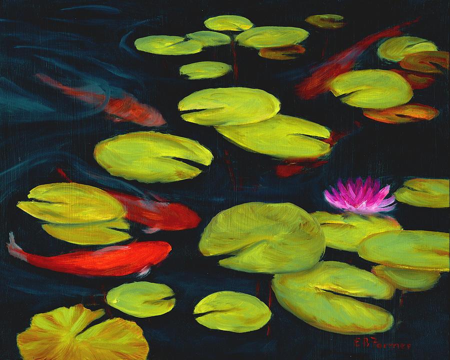 Koi Pond Painting By Elaine Farmer