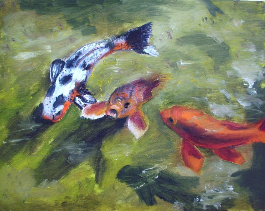 Koi pond fish painting by aj devlin for Koi fish pond art