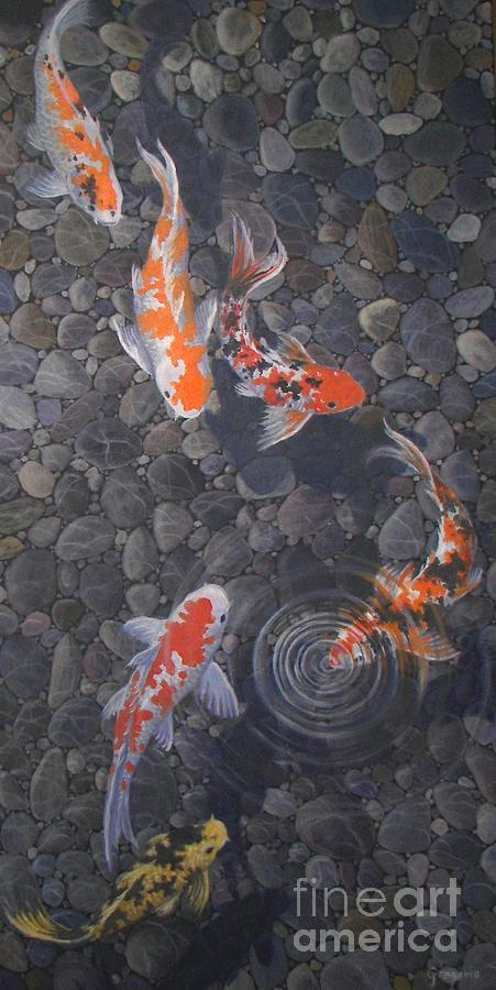 Koi pond painting by gene gregorio for Koi pond rocks