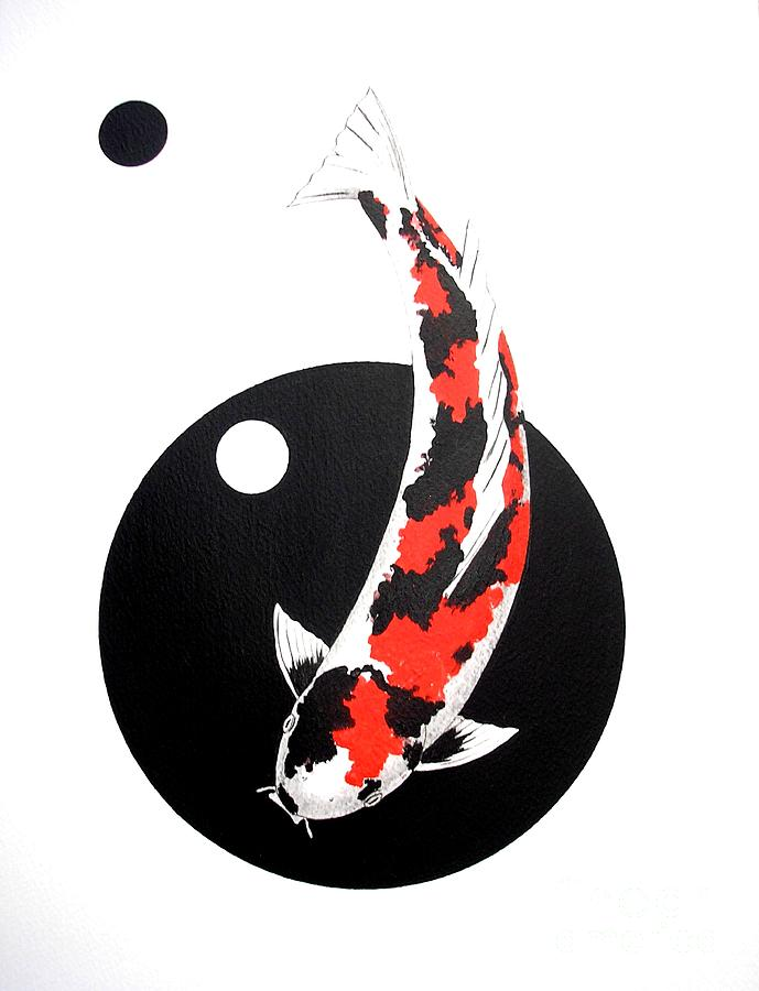 Koi showa circles nishikoi painting painting by gordon for Koi fish japanese art