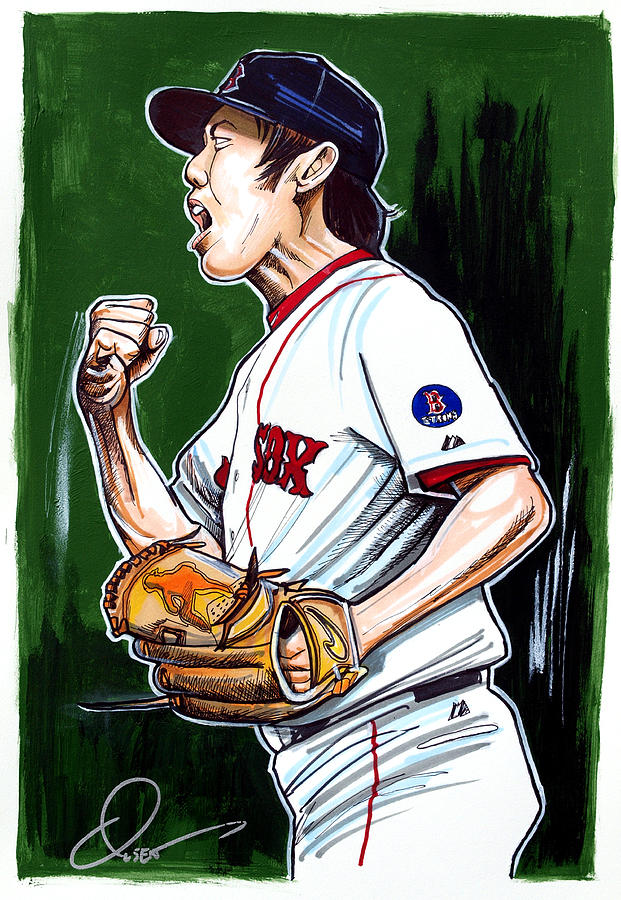 Koji Uehara Boston Red Sox Drawing  - Koji Uehara Boston Red Sox Fine Art Print