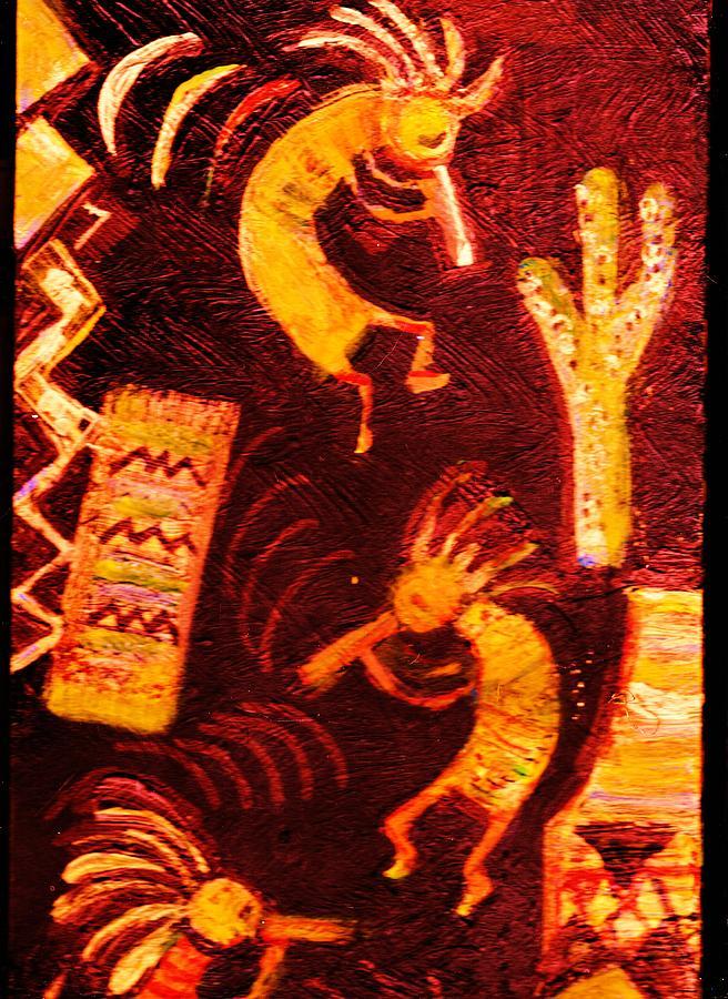 Kokopelli Painting - Kokopellis Dancing  by Anne-Elizabeth Whiteway