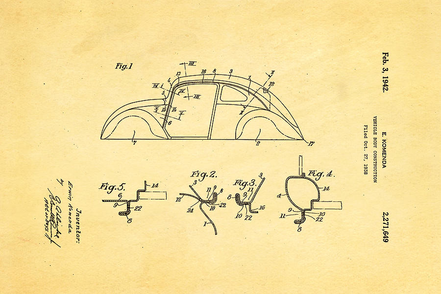 Komenda Vw Beetle Body Design Patent Art 1942 Photograph