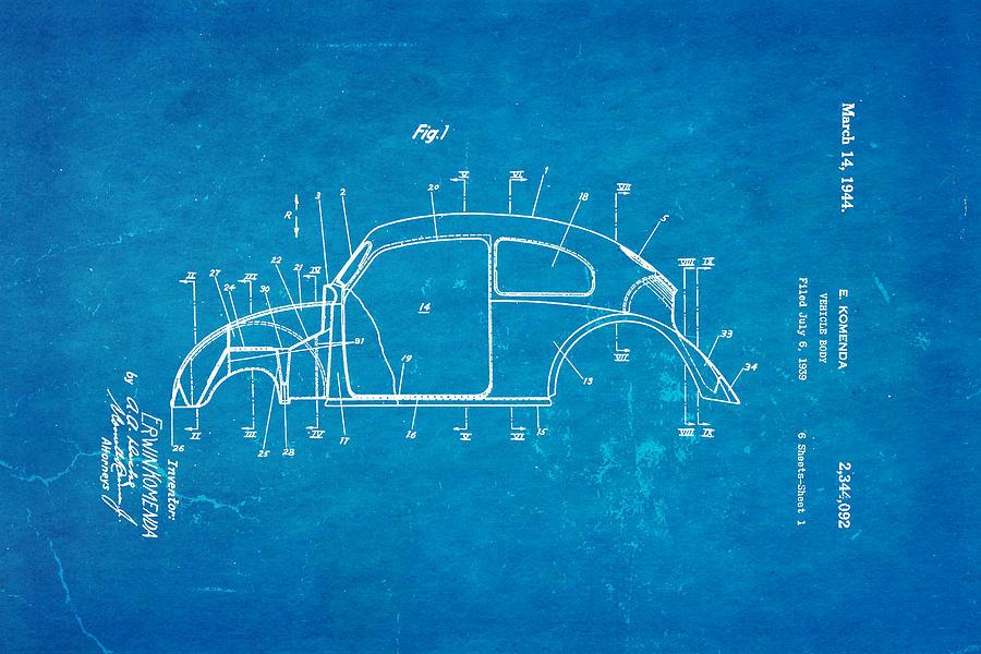 Automotive Photograph - Komenda Vw Beetle Body Design Patent Art 1944 Blueprint by Ian Monk