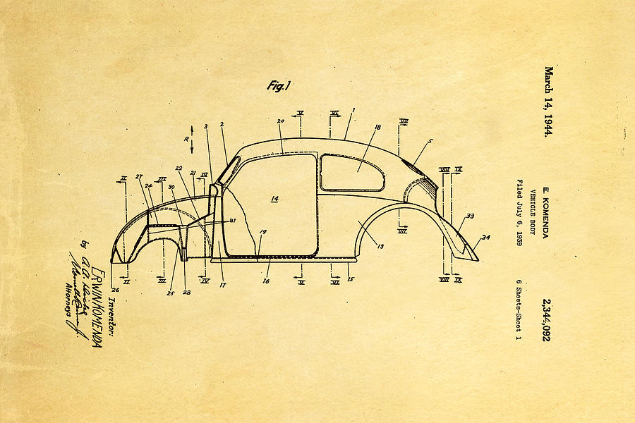 Automotive Photograph - Komenda Vw Beetle Body Design Patent Art 1944 by Ian Monk
