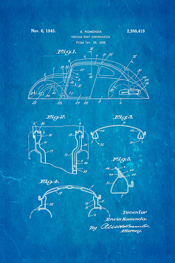 Komenda Vw Beetle Body Design Patent Art 1945 Blueprint Photograph