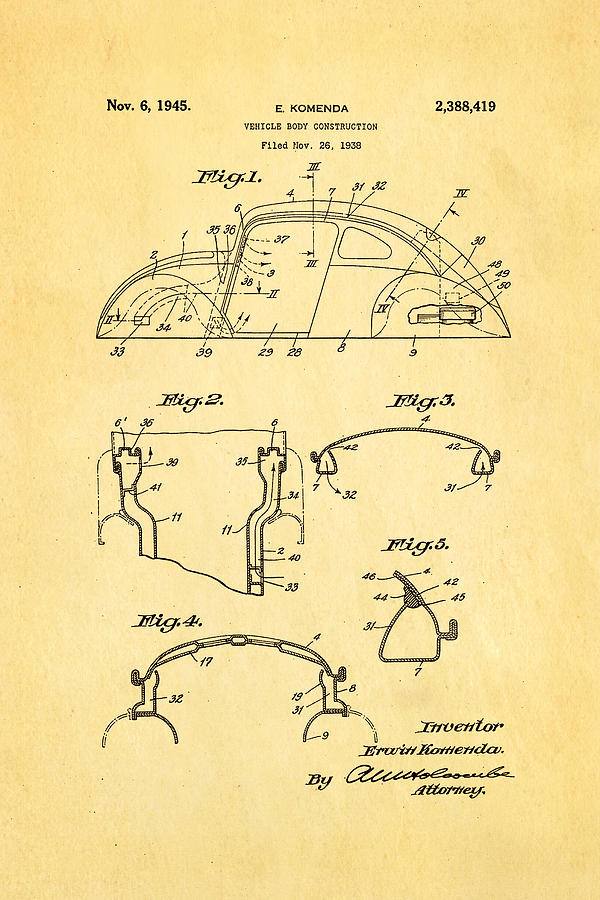 Komenda Vw Beetle Body Design Patent Art 1945 Photograph