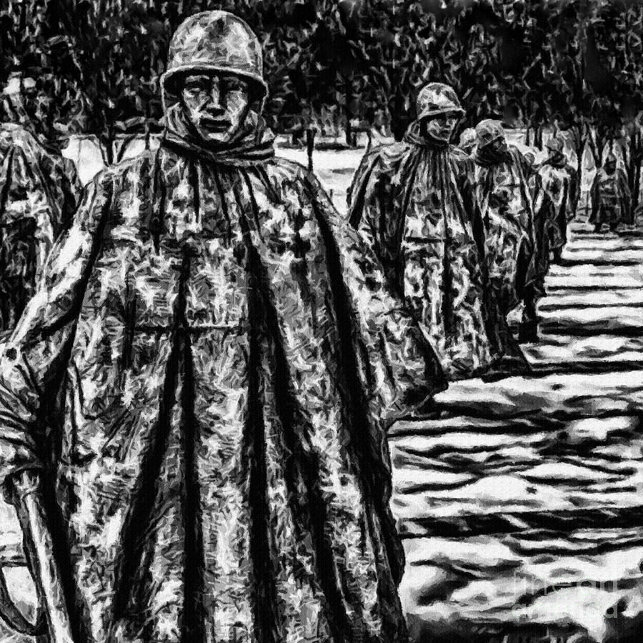 Korean War Memorial Painting Digital Art  - Korean War Memorial Painting Fine Art Print