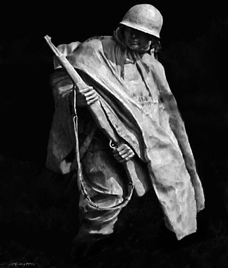 Korean War Veterans Memorial Rifleman Digital Art  - Korean War Veterans Memorial Rifleman Fine Art Print