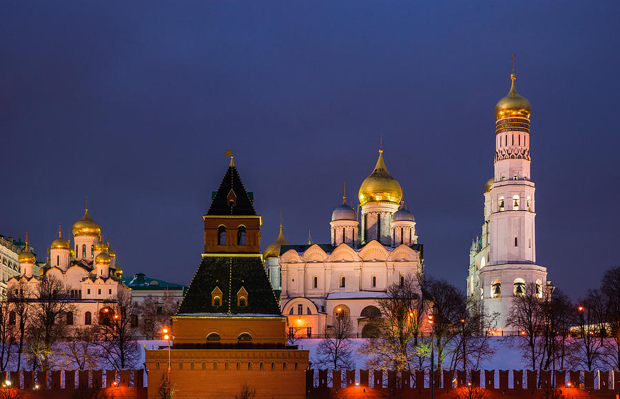 Kremlin Cathedrals At Night - Featured 3 Photograph