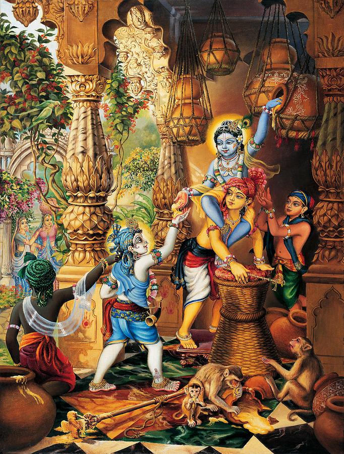 Krishna Balaram Stealing Butter Painting