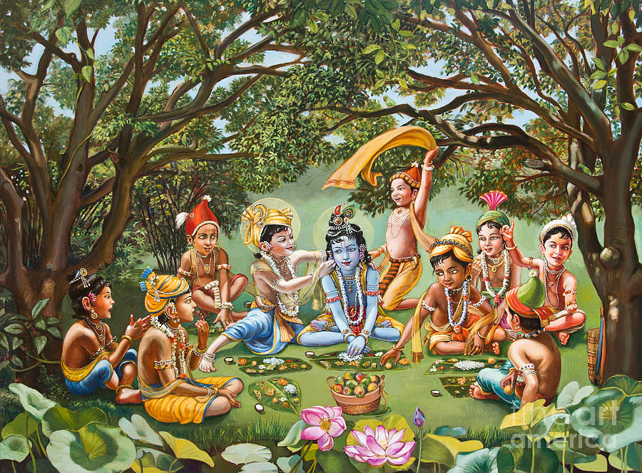 Krishna Eats Lunch With His Friends With No Bordure Painting  - Krishna Eats Lunch With His Friends With No Bordure Fine Art Print