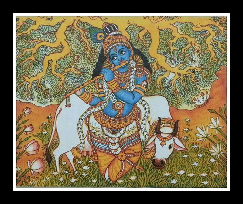 Krishna with cow mural painting painting by navin pb for Mural painting images