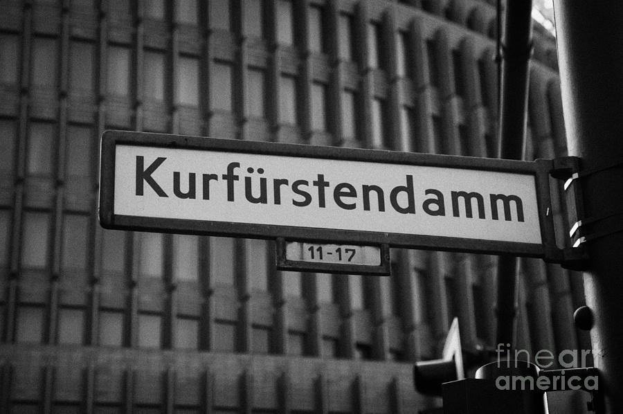 Kurfurstendamm Street Sign Berlin Germany Photograph