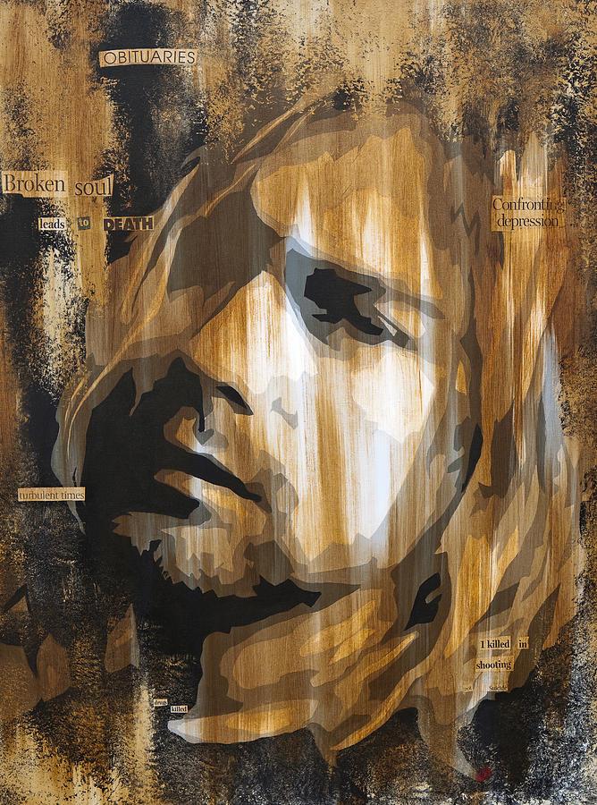 Kurt Cobain Paintings Painting - Kurt Cobain Tormented  by Brad Jensen