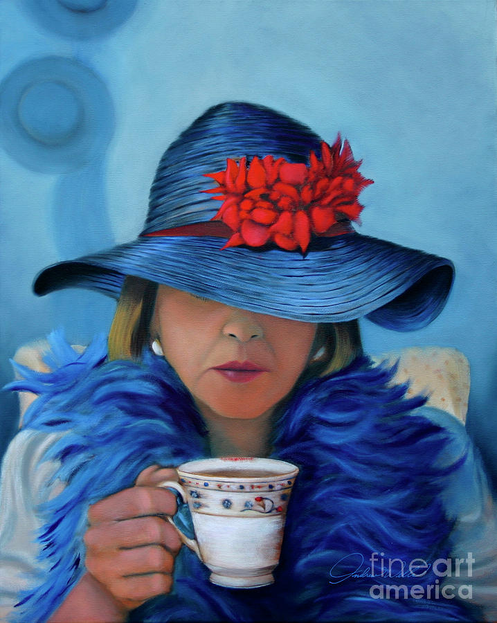 La Belle In The Blue Hat Painting